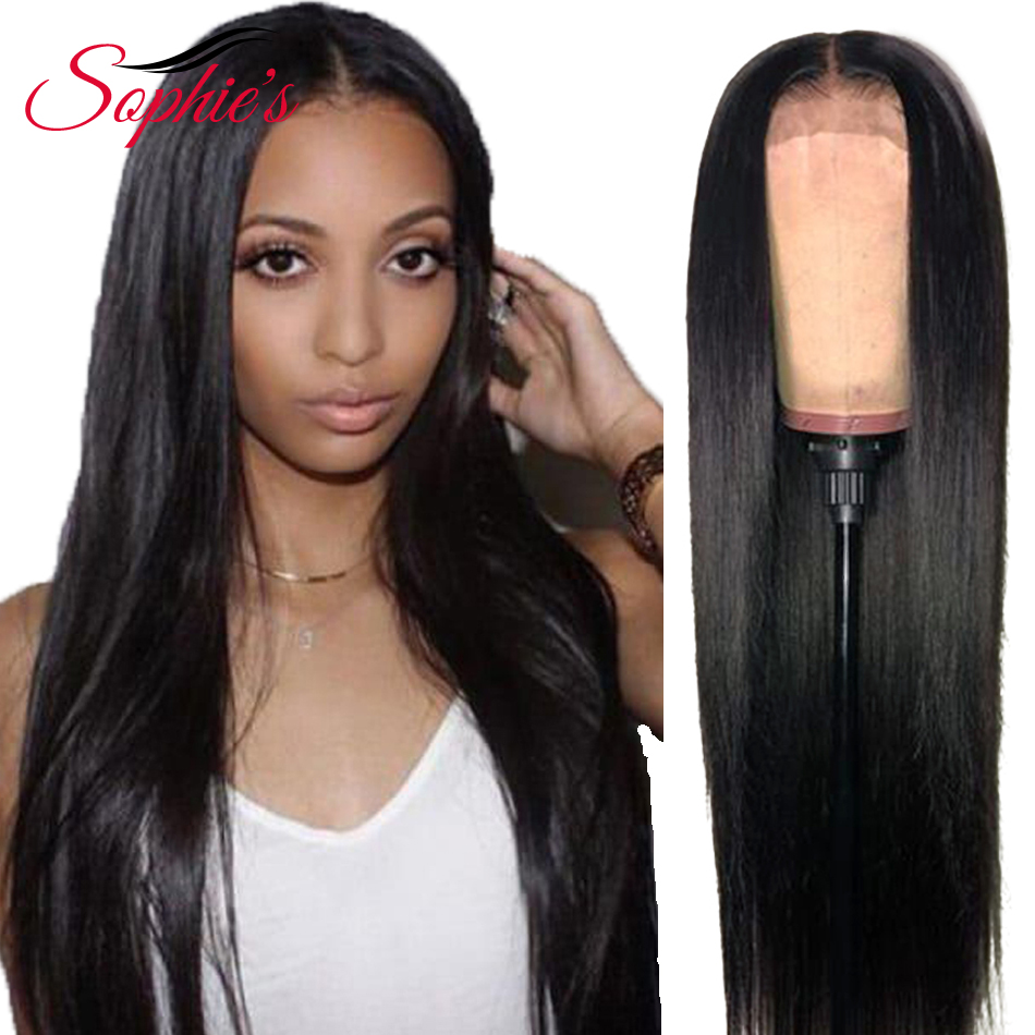 Sophie's Straight 13*4 Lace Front Human Hair Wigs With Baby Hair Non-remy Natural Black Brazilian Hair Wigs For Women 10-22 Inch