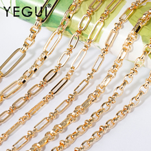 YEGUI C191,diy chain,18k gold plated,0.3microns,copper metal,hand made chain,charms,jewelry making,diy bracelet necklace,1m/lot
