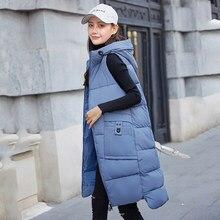 Outono inverno algodão colete feminino plus size casacos com capuz sem mangas colete longo engrossar algodão acolchoado feminino