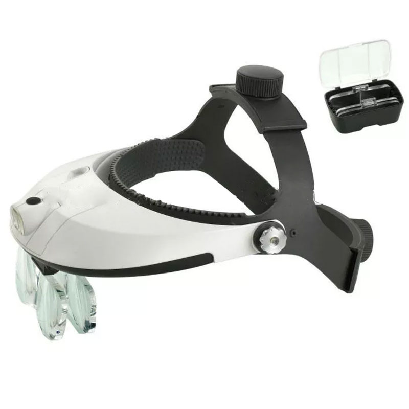 Lente d'ingrandimento per casco con lente d'ingrandimento a fascia per mani con illuminazione a LED multi potere Riparazione lente visiera Lente chirurgica dentale