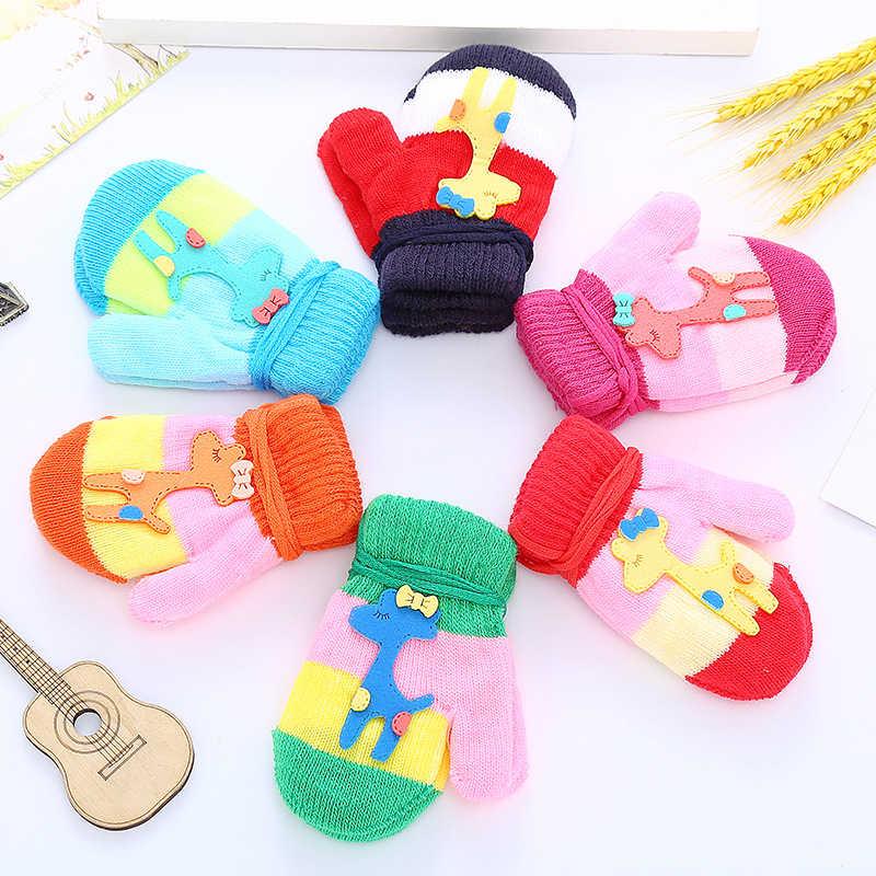 מאיה סטפן 1 זוג סוכריות חמוד Cartoon לעבות חם צמר תינוקות תינוק בני בנות חורף כפפות יילוד כפפות ילדים רכב
