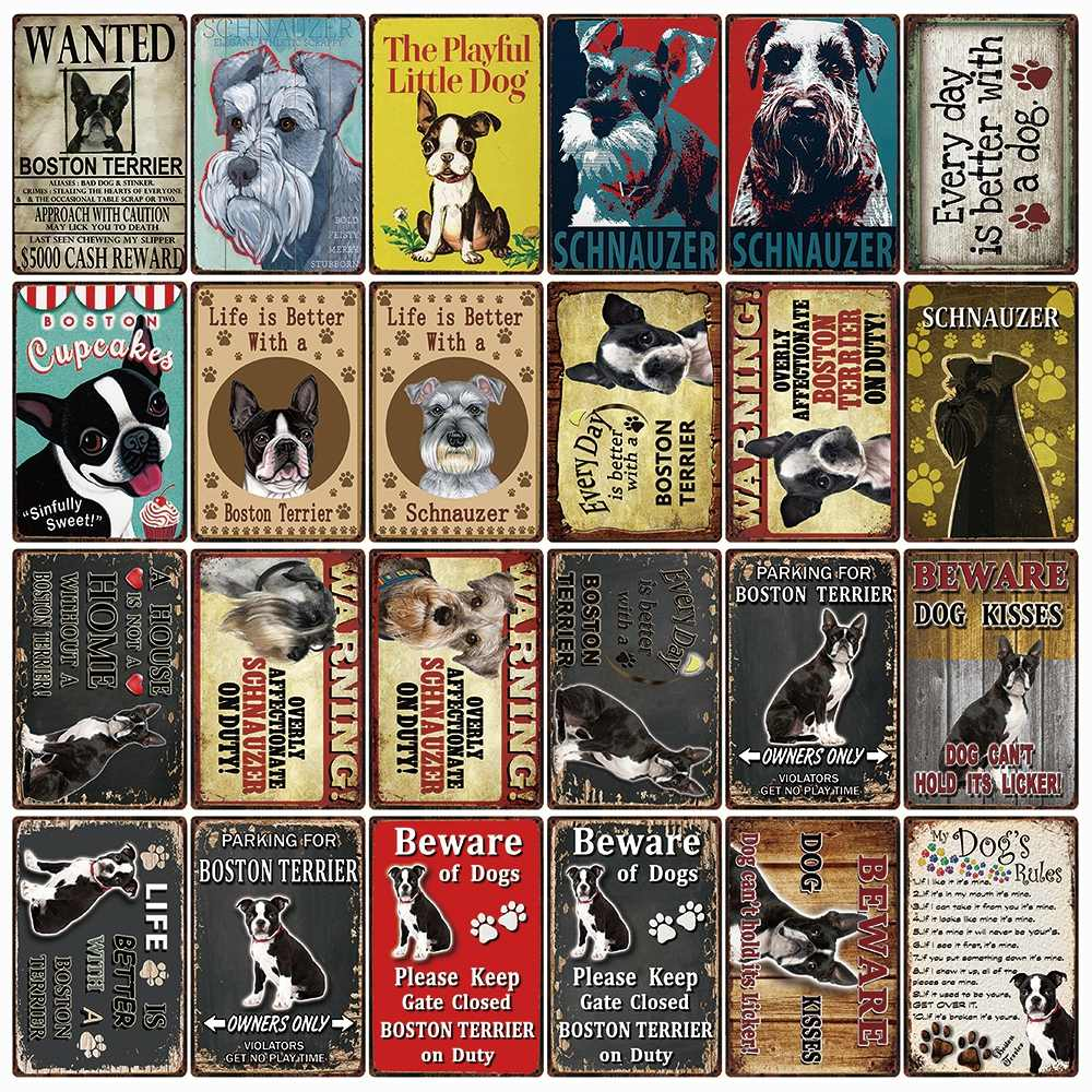 [ Kelly66 ] Pets Warning Dogs Rules Boston Terrier And Schnauzer Metal Sign Home Decor Bar Wall Art Painting 20*30 CM Size DG-36