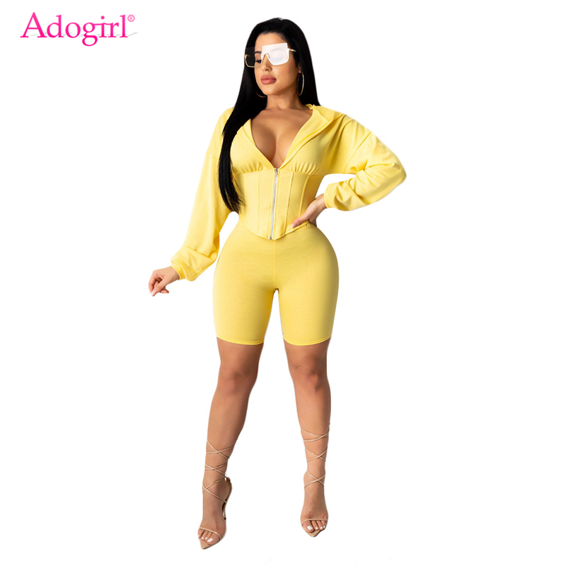 Adogirl Characteristic Waist Leisure Sporting Two Piece Set Zipper Long Sleeve Hooded Crop Top Shorts Women Fashion Suits