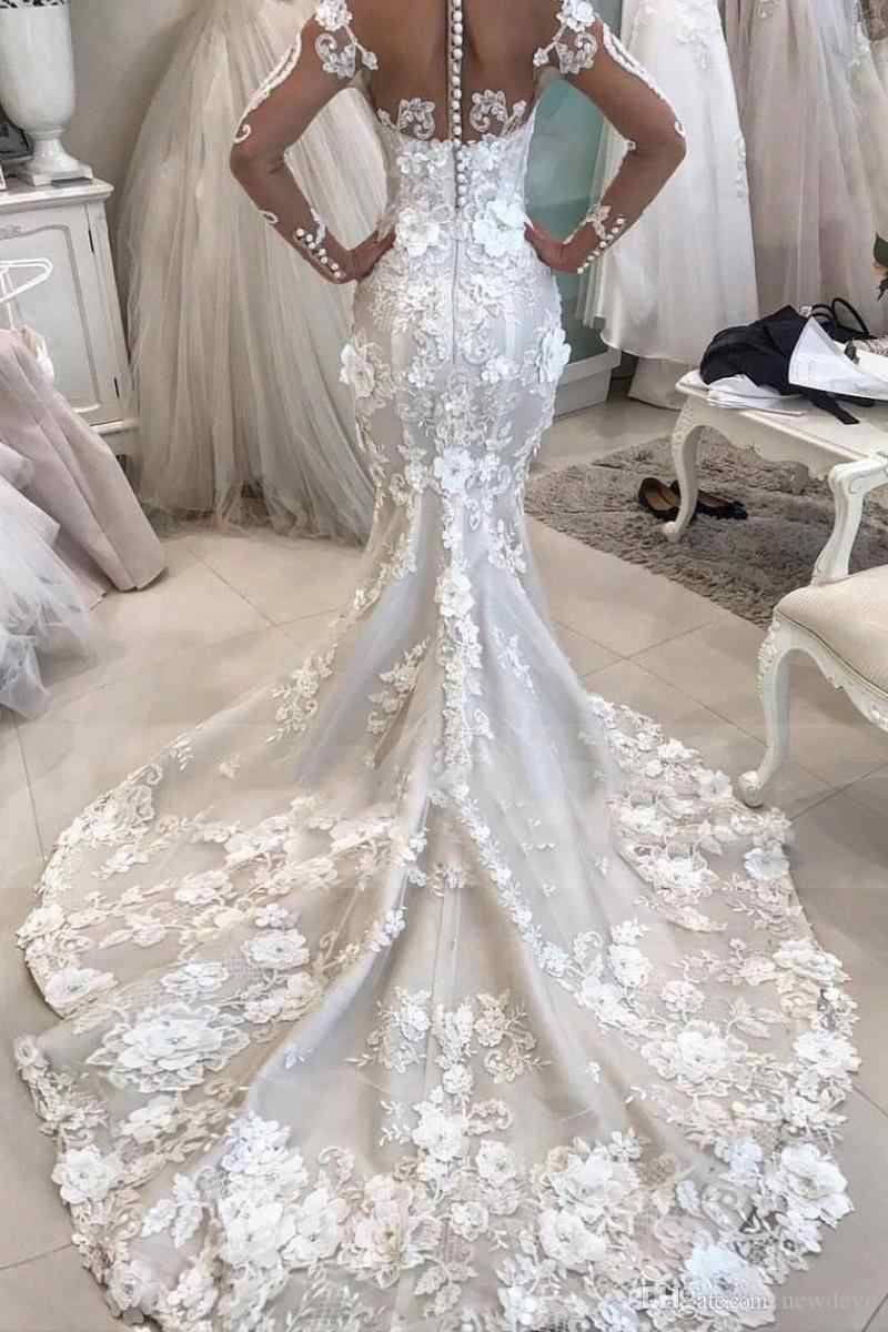Роскошное Русалка свадебное платье с 3d цветами прозрачное шеи Vestido De Novia с длинными рукавами плюс размер свадебные платья