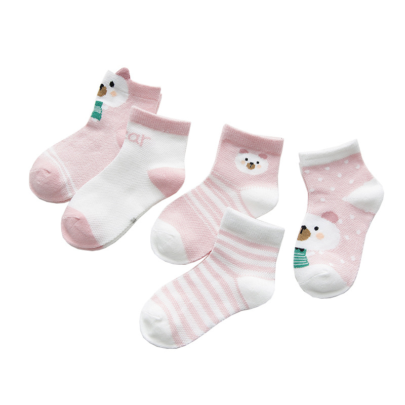 5Pairs/lot 2-12Y Children Socks Baby Socks for Girls Cotton Mesh Cute Newborn Boy Toddler Socks Baby Clothes Accessories 4