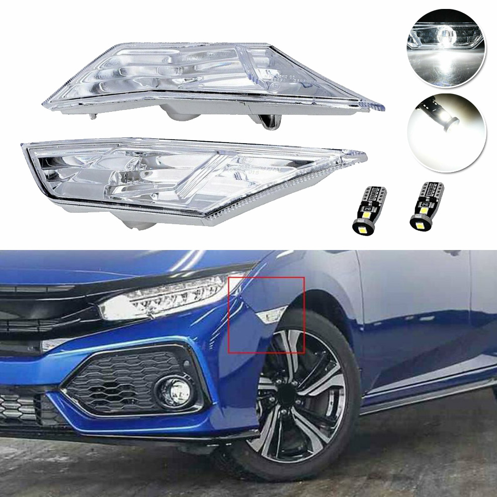 2x Clear Lens Side Marker Lamps W/ White LED Bulbs For Honda Civic 2016 17 18 19