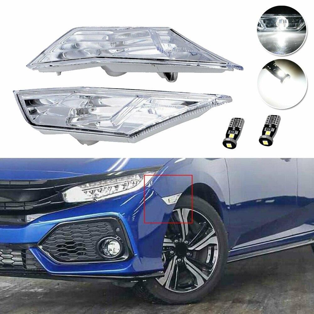 2x прозрачные линзы боковые габаритные лампы W/белый светодиодный лампы для Honda Civic 2016 17 18 19