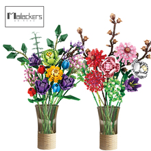 Mailackers Creator Expert DIY Flowers Bouquet Phalaenopsis Rose Friends Moc Potted Plants Building Blocks Dec House Toy For Girl
