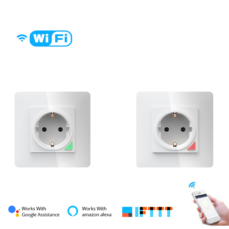 2/4 pcs EU wall <font><b>socket</b></font> 16A wifi in wall smart timing <font><b>Socket</b></font> tuya smart life power Switch Wall <font><b>Socket</b></font> SCS86-03AJAI support alexa image