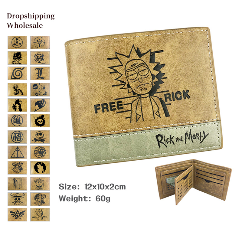 Rick And Morty/DRAGON Ball/ OP Men Wallet Leather Wallet Cartoon Wallet Short Purses Credit Card Holder Coin Purse Money Bag
