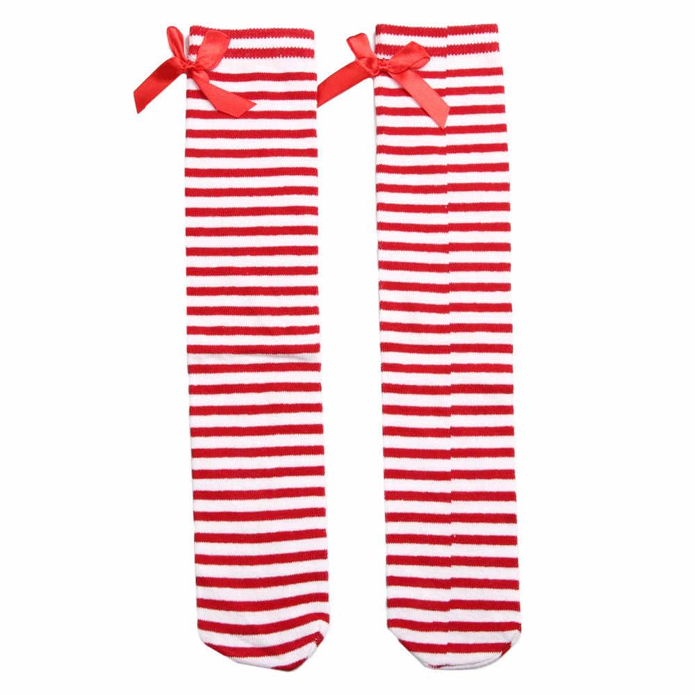 Kızlar Çocuklar Tatlı Ilmek Çizgili Çizme Çorap Kış diz üstü çorap Okul Harajuku Çorap