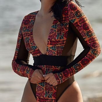 Vintage Women Swimwear Sexy Mesh Swimming Suit Long Sleeve High Cut Thong One Piece Swimsuit Female Bather Bathing Suit Beach 2018 woman plus size swimsuit m 3xl one piece bathing suit for women big striped beach swimming vintage bather female swimwear