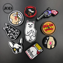 Cat Rip Dip Embroidered Patches for Clothing Iron on Clothes Patch ironing DIY Applique Sew Stickers Fabric Badges Super @20 printio rip n dip cat