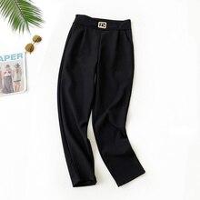 AcFirst Autumn Winter Women Fashion Black Long Pant Harem Pants High Waist Ankle Female Casual Vintage Bottom Plus Size