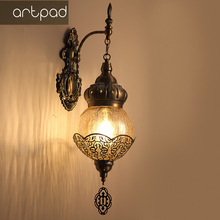 Wall-Lamp Turkish Art-Decor Glass Hotel-Bar Retro Ac Ce for Exotic Restaurant Cafe Ice-Cracked