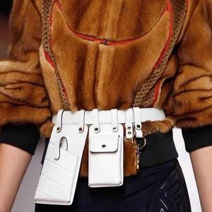 Image 4 - חדש עור מפוצל פאני חבילת מותן תיק חגורות אישה כתף תיק נייד טלפון חבילות חזה נשי ארנק Crossbody תיק