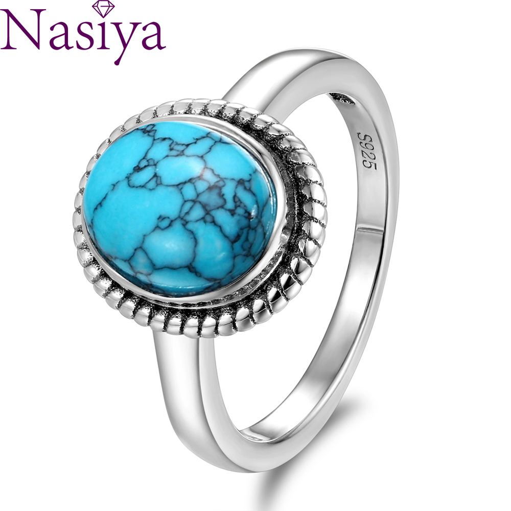 New Fashion 8x10 MM Oval Natural Turquoise Rings Women's 925 Silver Ring Vintage Fine Jewelry For Anniversary Gifts Wholesale