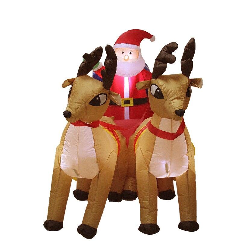 Navidad Santa claus carrito inflable de trineo de renos Castillo inflado de trineo de ciervos para niños regalos de navidad accesorios de fiesta de navidad - 4