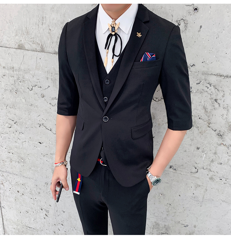 Business Casual 2020 Mens.Us 83 51 2020 Spring And Summer New Fashion Business Casual Seven Point Sleeve Suit Suit Men S Suit Three Piece Solid Color Thin Section On
