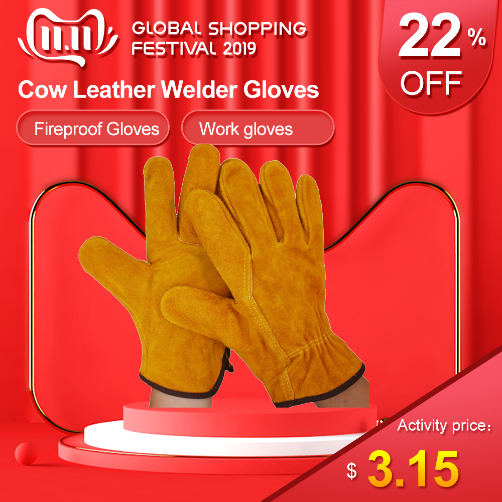 Work Gloves 1 Pair/Set Fireproof Cow Leather Welder Gloves Anti-Heat Work Safety Gloves For Welding Metal Protective Gloves