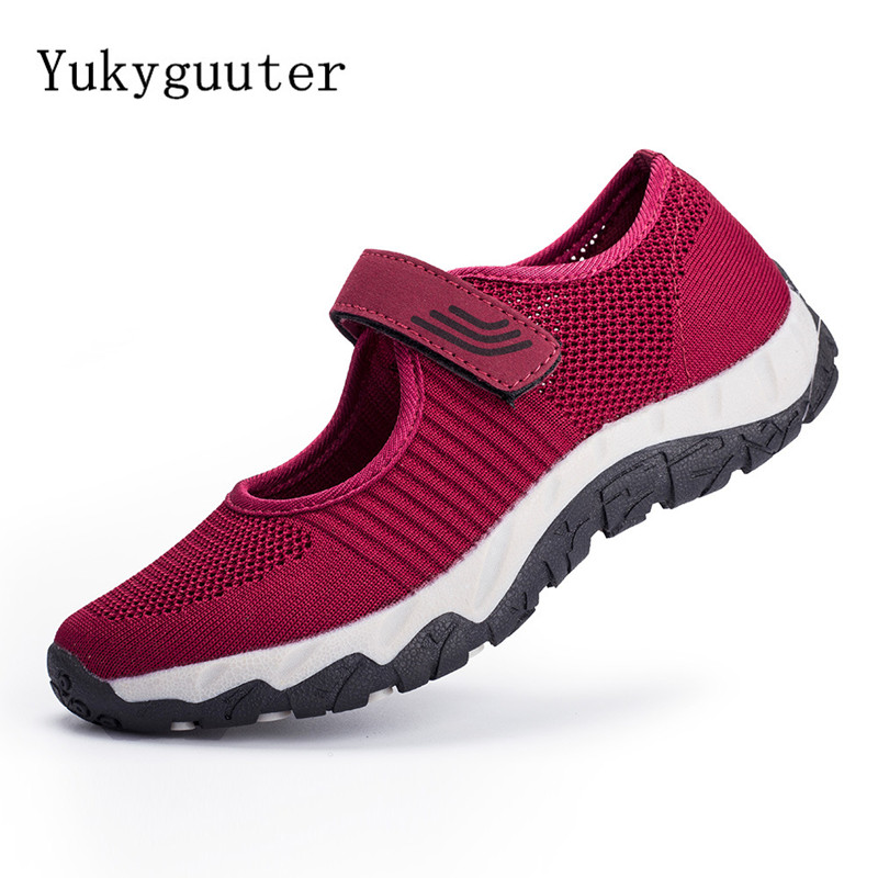 Woman Sports Running Shoes Flats Non-slip Outdoor Summer Breathable Shoes Lightweight Athletic Mesh Sneakers Hook & Loop Walking