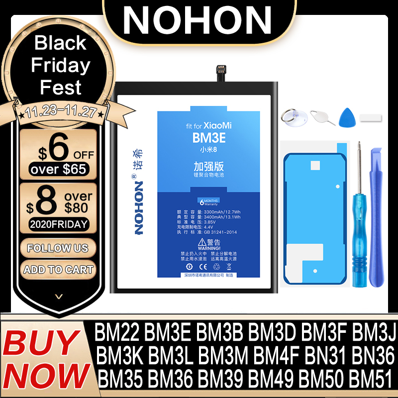 Аккумулятор NOHON BM3E BM3B BM3L BM22 BM36 BM39 BN31 для Xiaomi Mi 9 8 SE Pro Lite 6 5 5S 4C 5X CC9 4 6X MIX MAX 2 3 BM49 BM50 BM51