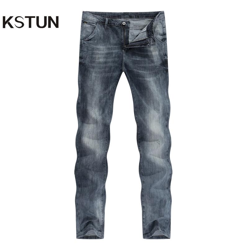 KSTUN mens jeans slim fit retro gray denim pants man 2020 summer thin grey vintage casual pants jeans male long trousers cowboys