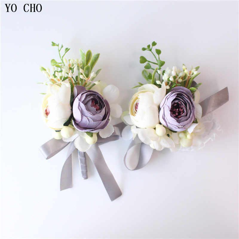 Pernikahan Groom Boutonniere Korsase Gelang Pengiring Pengantin Merah Mawar Buatan Bunga Boutonniere Sutra Bunga Bros Pernikahan Pin