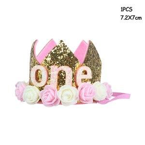 Украшения для 1-го дня рождения малыша Корона 1-летнего года мальчик девочка малыш первый день рождения воздушный шар гирлянда детский душ товары для вечеринки