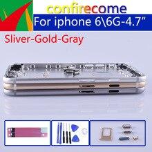 Originele Kwaliteit Voor Iphone 6 6G Batterij Cover Deur Behuizing Terug Behuizing Voor Iphone 6 Shell Chassis Midden Frame Body Achter case