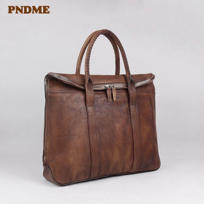 PNDME Fashion Vintage Genuine Leather Men Women's Briefcase Luxury Designer Cowhide Handbag Casual Laptop Shoulder Messenger Bag