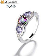 Fashion colorful heart zircon ring Exquisite jewelry Colorful stone rings for women fashion girlfriend gift