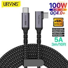 URVNS TYPE-C do C kabel USB C 5A E-MARK PD 100W USB 3.1 Gen2 10 gb/s 4K 60Hz wideo Nylon tkania ze stopu przewód zasilający 3 metr
