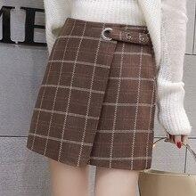 Autumn Hairy Womens Skirt Vintage Plaid Mini Women British Style Fashion Skirts 2019 A-line Korean
