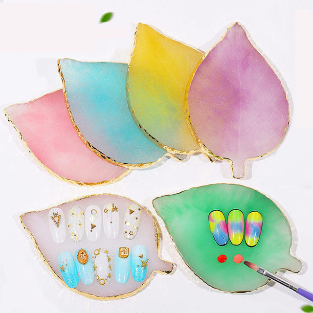 1 Pcs Resin Stone Color Palette False Nail Tips Drawing Nail Color Palette for Nail Color Mixing Display Manicure Polish Gel Too 2