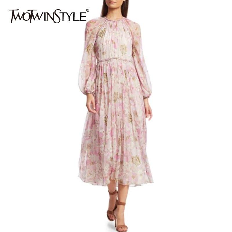 Deuxtwinstyle imprimer ruché femmes robes O cou lanterne à manches longues taille haute robe pour femme 2019 mode vêtements marée