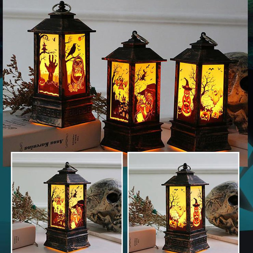 Halloween LED Night Lights Festival Products Wind Decorations Fire Portable Lamps Ghost Light