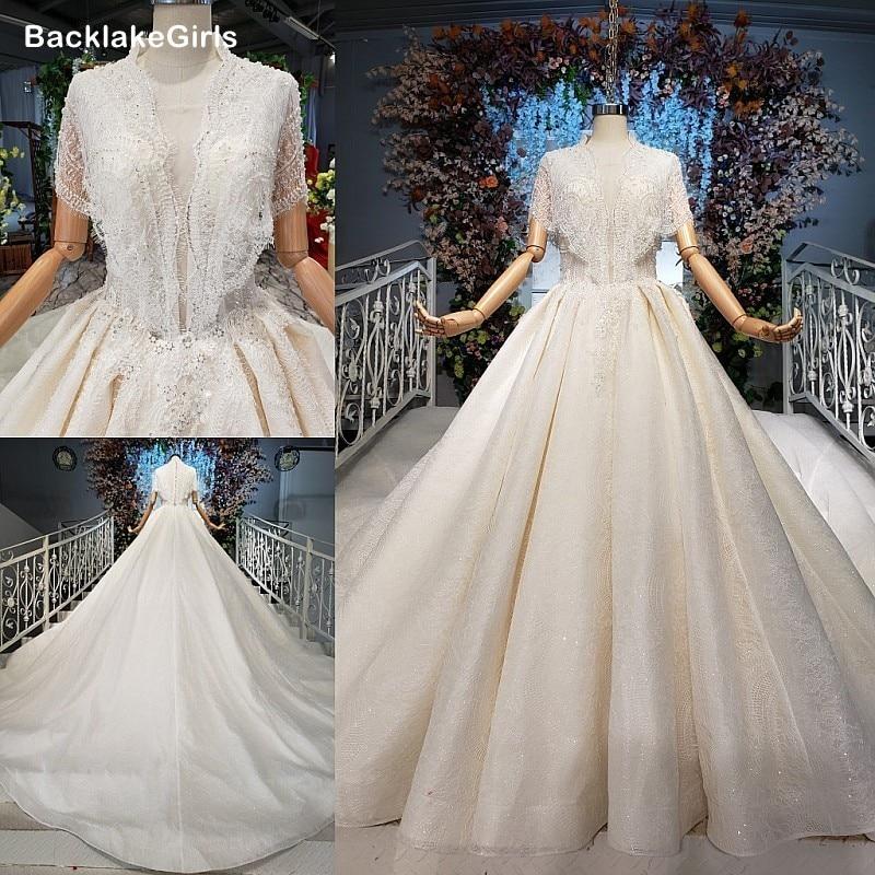 Elegant Lace Sleeve Wedding Dress 2020 Sheer