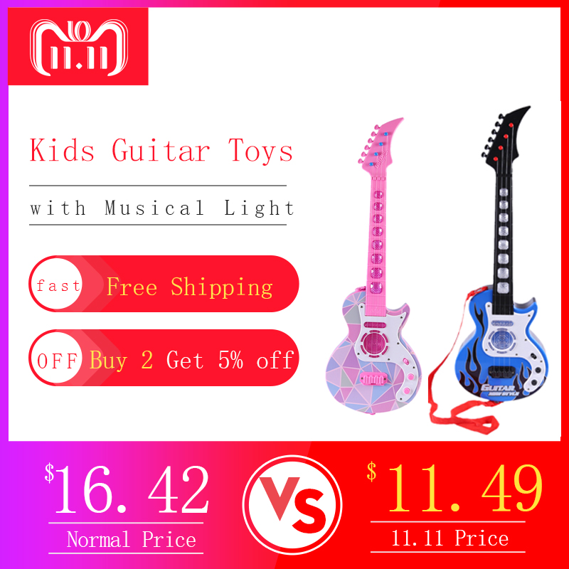 Children Toy Musical Instrument Guitar Early Educational Toys With Musical Sound &Light Toys For Kids Christmas Birthday Gift