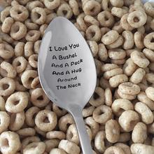 Portable Stainless Steel I Love You A Bushel And Peck Recycled Spoon Cutlery Durable Letter laser engraved Easy to Clean