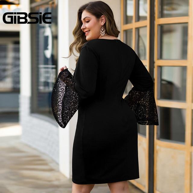 GIBSIE Women Black Elegant Lace Flare Long Sleeve Party Bodycon Dress Autumn winter Office Lady Plus Size V-Neck Mini Dresses 2