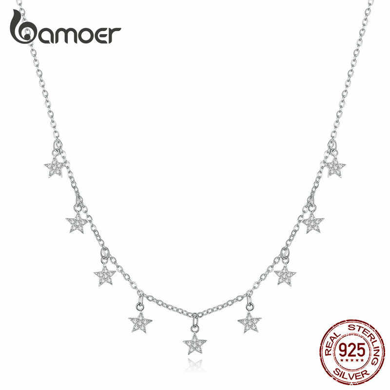 bamoer Stars Metal Choker Necklaces for Women Short Chain Necklaces Wedding Engagement 925 Sterling Silver Jewelry BSN116