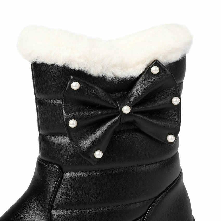 ESVEVA 2020 kış sıcak kürk takozlar kar botları yuvarlak ayak PU deri rahat bayan ayakkabıları kelebek Kno tatlı yarım çizmeler boyutu 34-43