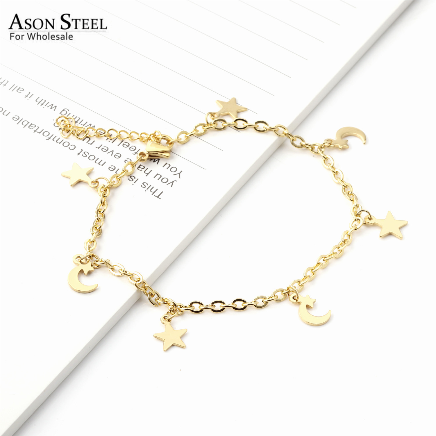 ASONSTEEL Charming 316L Stainless Steel Barefoot Chain Gold Color Star Moon Anklet for Women Gift Foot Chain Accessories Jewelry