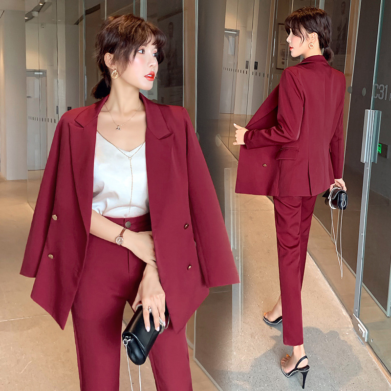 Women's Suits Solid Color Pants Suit Large Size Office Long Sleeve Blazer High Quality Two-piece 2019 Women's Clothing