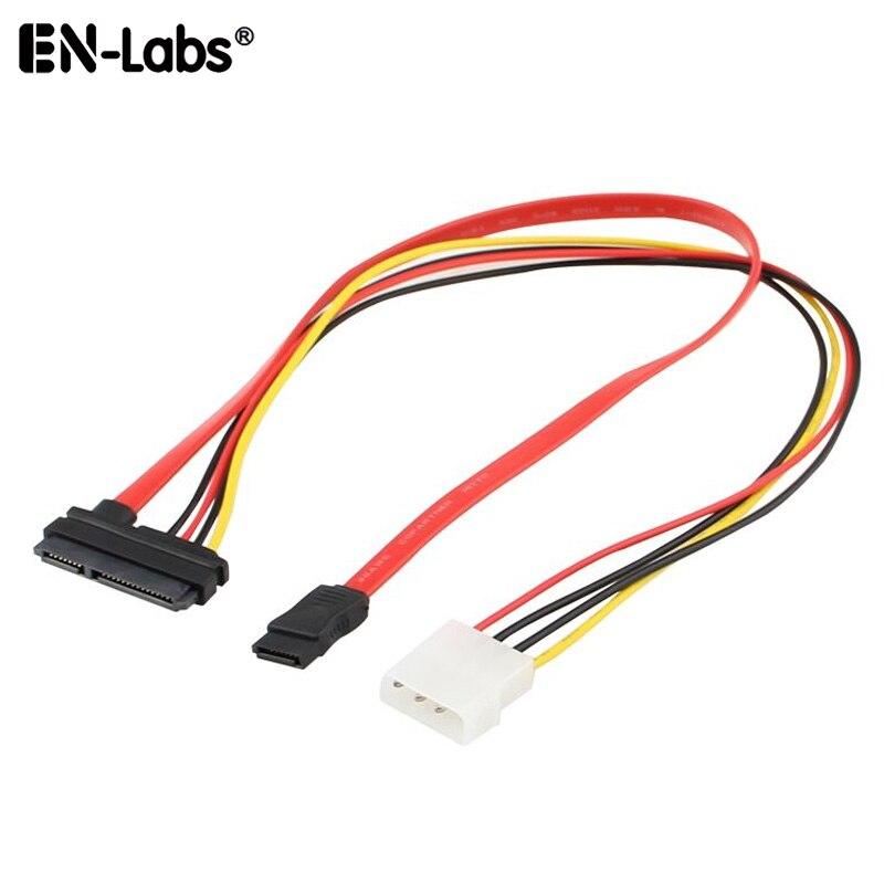Câble combiné SATA Data Powr, SATA 22P 15 7pin vers SATA 3 et Molex 4pin IDE SSD câble d'adpater, SATA III w/Molex 4 broches vers SATA HDD