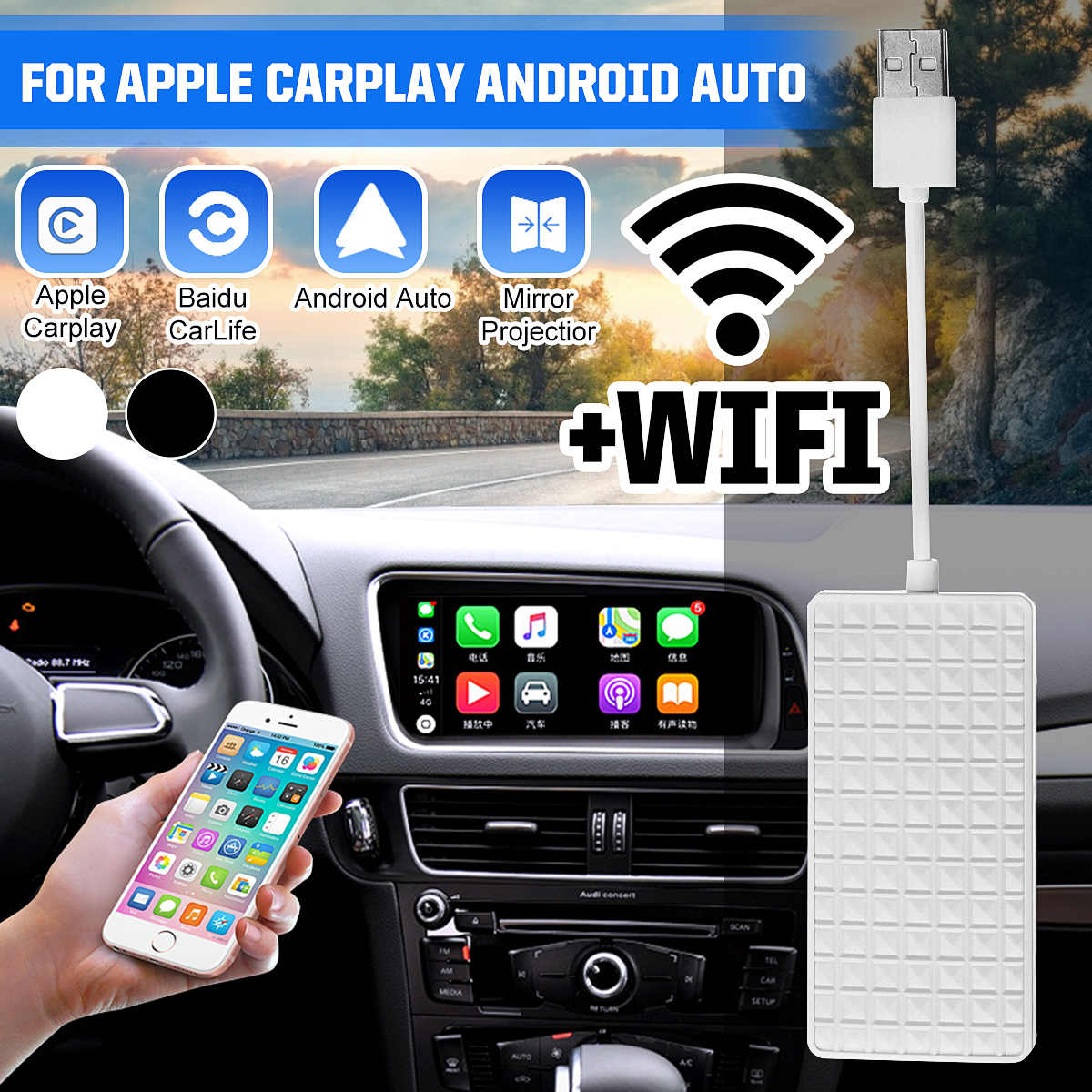 Wireless WIFI USB Dongle Smart Link untuk Apple Carplay Dongle untuk Android Navigasi Pemain Mini USB Carplay Stick Modul
