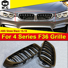 1 Pair F36 Front Grille ABS Gloss Black For BMW 4-door Hard top M-Style 420i 428i 435 2-Slats Look Kidney Grills 13-in