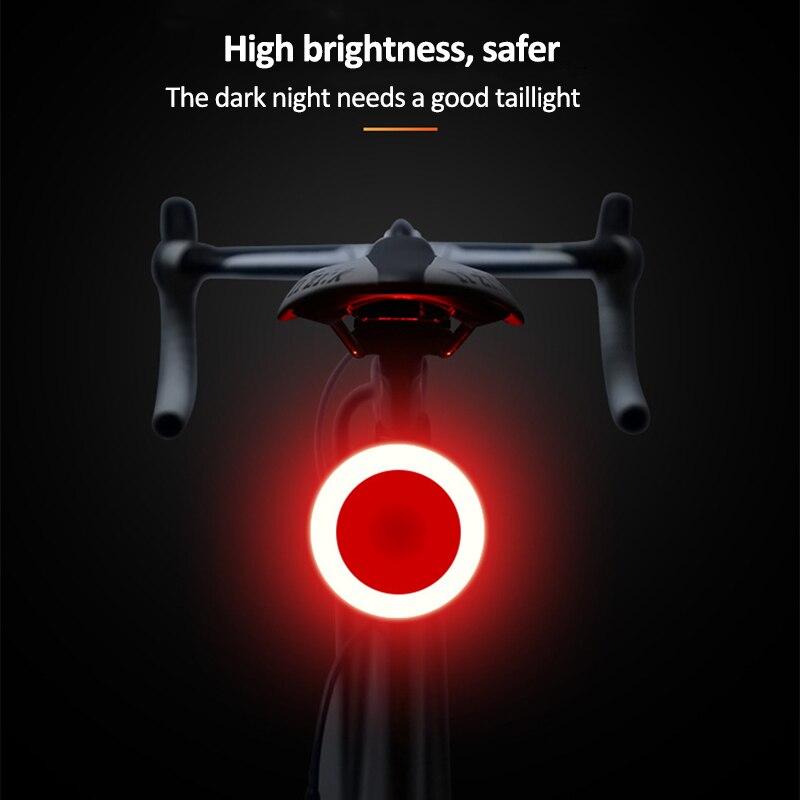 Luz de bicicleta 5 modos de iluminación Tailight Luz de bicicleta carga USB Luz Led de bicicleta Flash estroboscópico Rears para tija de sillín de bicicleta de montaña