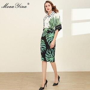 Image 5 - MoaaYina Fashion Designer Set Spring Women Half sleeve Shirt Tops+Green leaf Print Package buttocks Skirt Elegant Two piece set